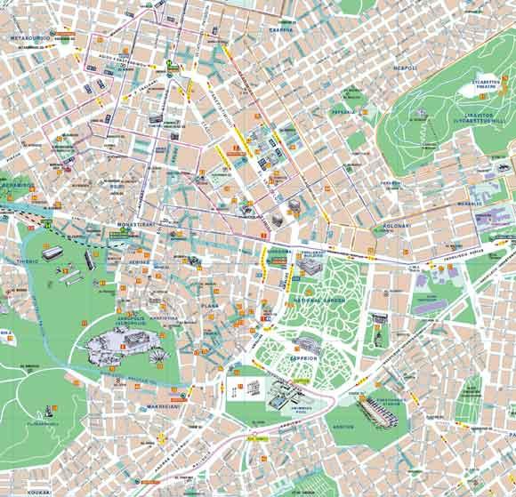 Carte Routiere Crete En Francais.Athenes Plane Et Carte D Athenes